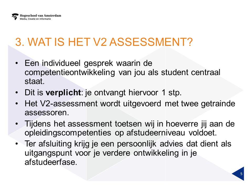 3. WAT IS HET V2 ASSESSMENT Een individueel gesprek waarin de competentieontwikkeling van jou als student centraal staat.