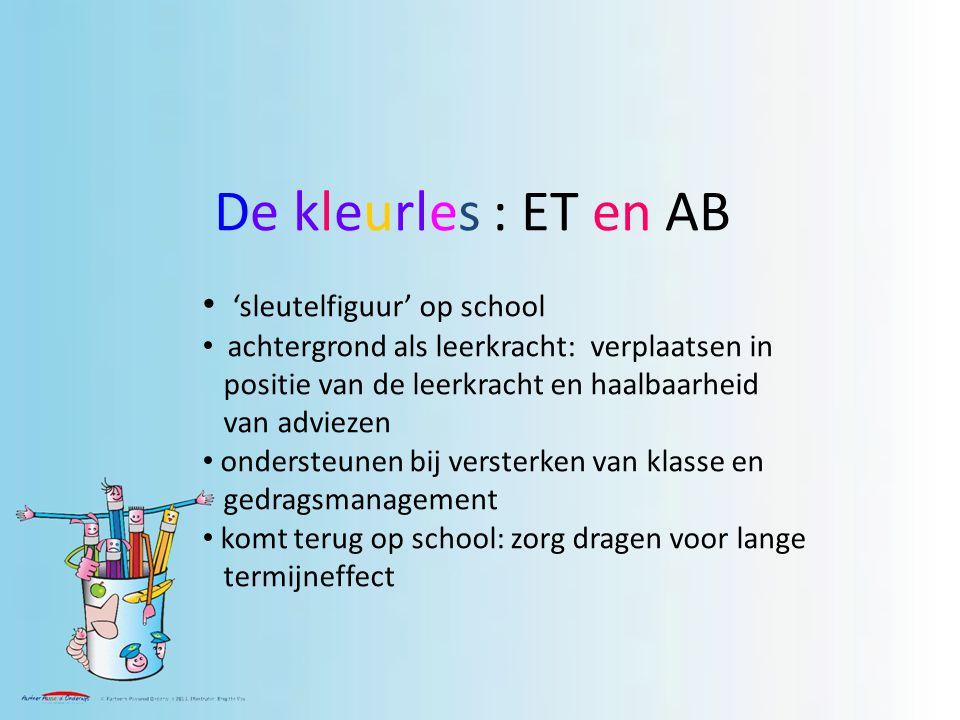 De kleurles : ET en AB 'sleutelfiguur' op school