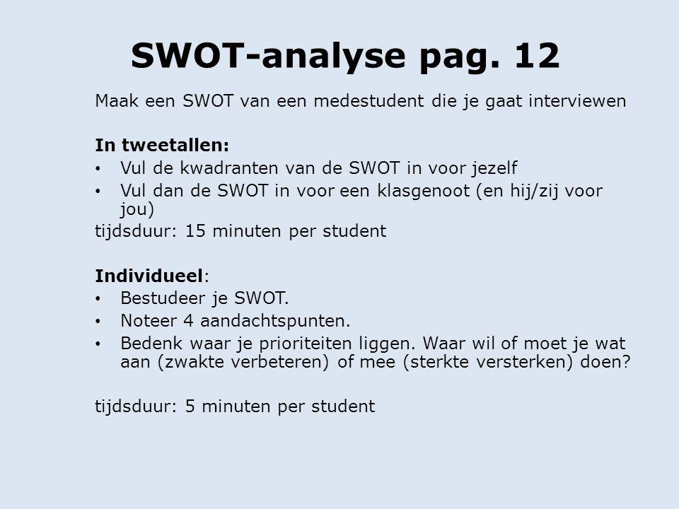 SWOT-analyse pag. 12 Maak een SWOT van een medestudent die je gaat interviewen. In tweetallen: Vul de kwadranten van de SWOT in voor jezelf.