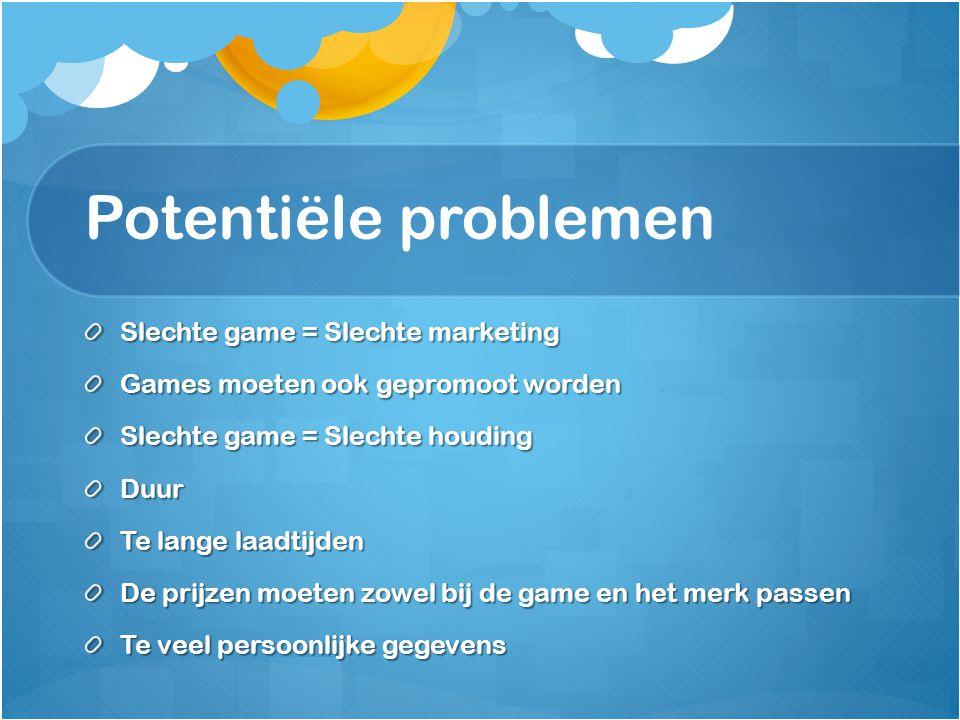 Potentiële problemen Slechte game = Slechte marketing