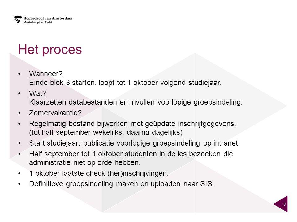 Het proces Wanneer Einde blok 3 starten, loopt tot 1 oktober volgend studiejaar.