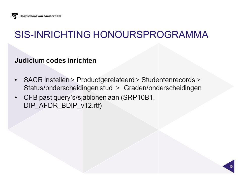 SIS-inrichting Honoursprogramma