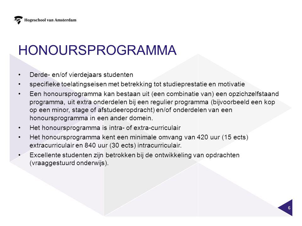 Honoursprogramma Derde- en/of vierdejaars studenten