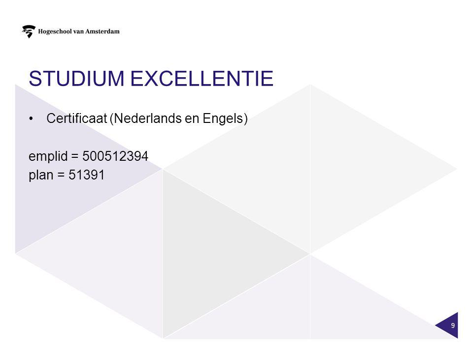 Studium Excellentie Certificaat (Nederlands en Engels)