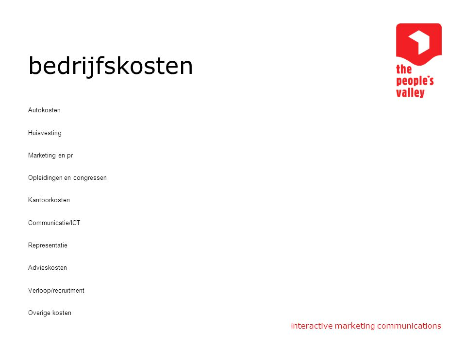 bedrijfskosten interactive marketing communications Autokosten