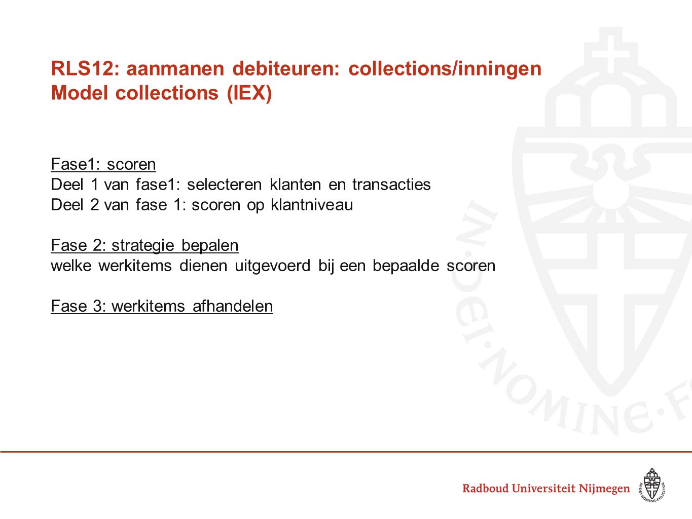 RLS12: aanmanen debiteuren: collections/inningen Model collections (IEX)