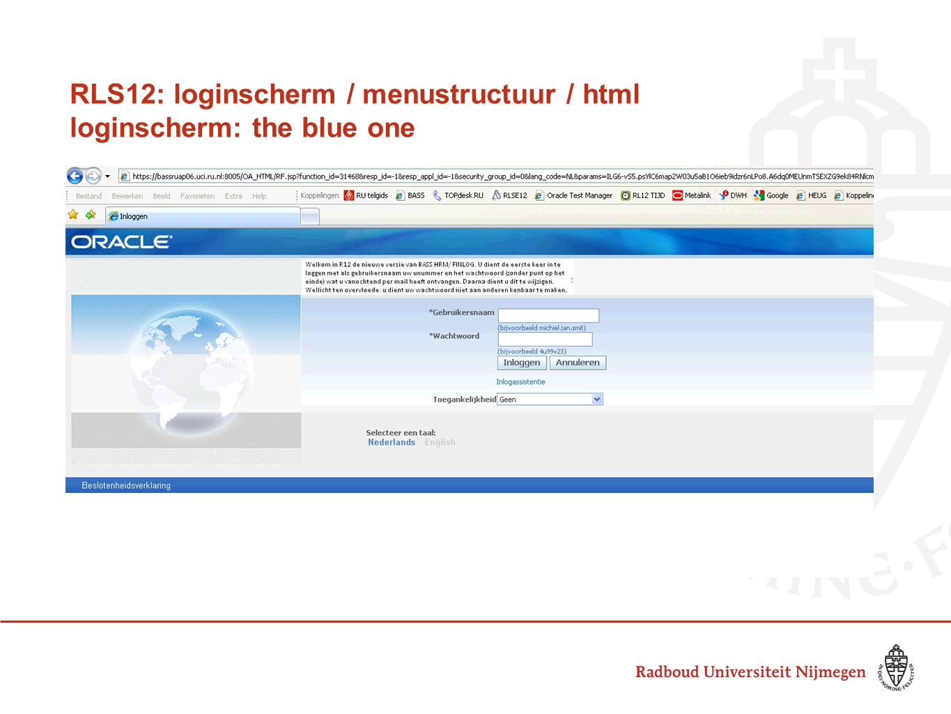 RLS12: loginscherm / menustructuur / html loginscherm: the blue one