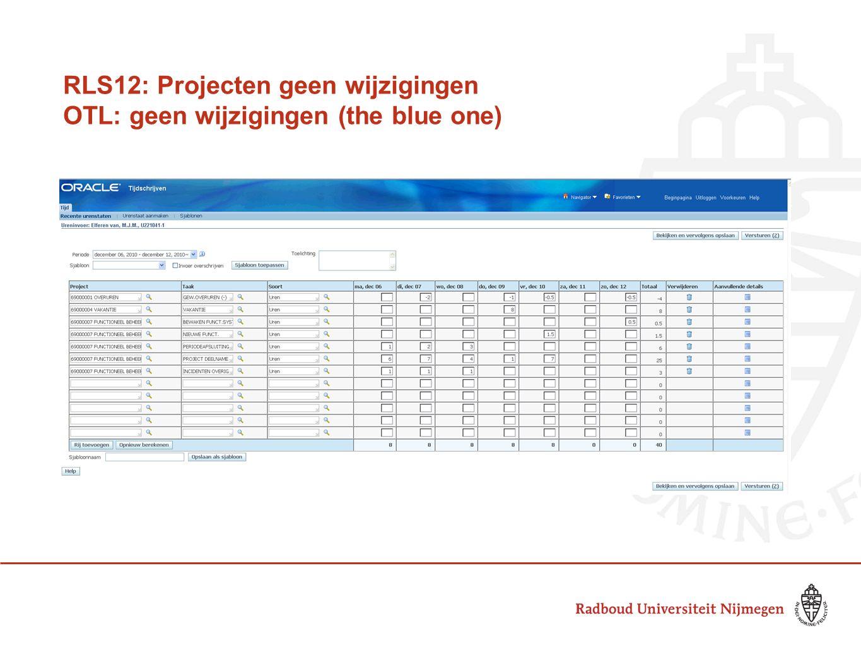 RLS12: Projecten geen wijzigingen OTL: geen wijzigingen (the blue one)