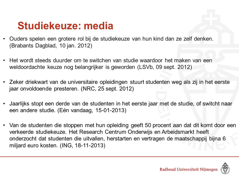 Studiekeuze: media Ouders spelen een grotere rol bij de studiekeuze van hun kind dan ze zelf denken. (Brabants Dagblad, 10 jan. 2012)