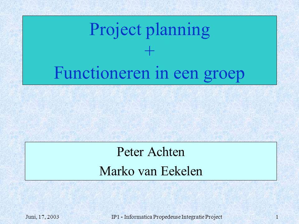 Project planning + Functioneren in een groep