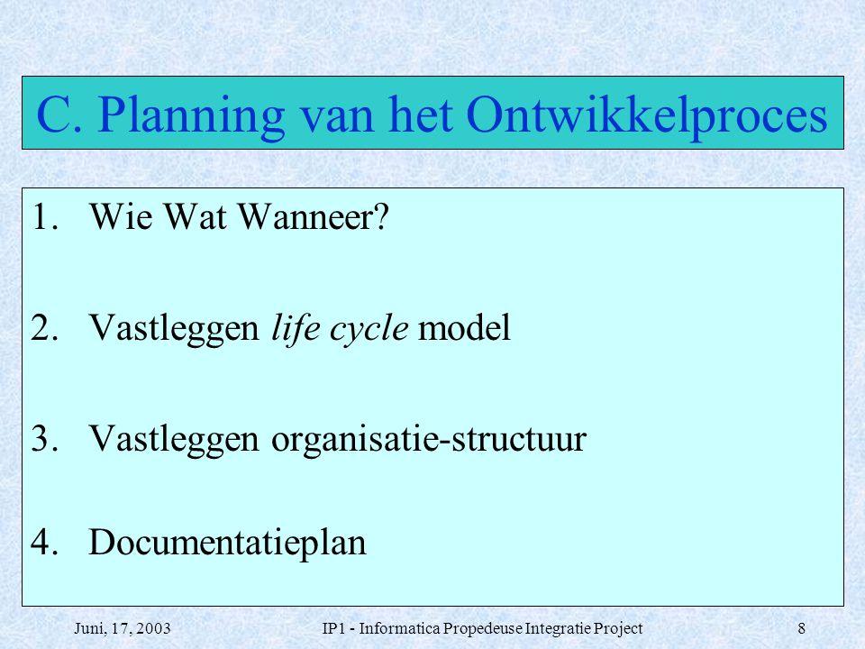 C. Planning van het Ontwikkelproces
