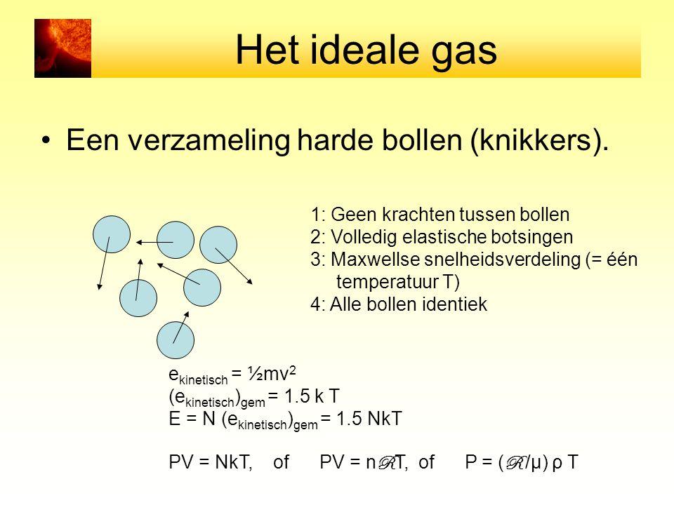 Het ideale gas Een verzameling harde bollen (knikkers).