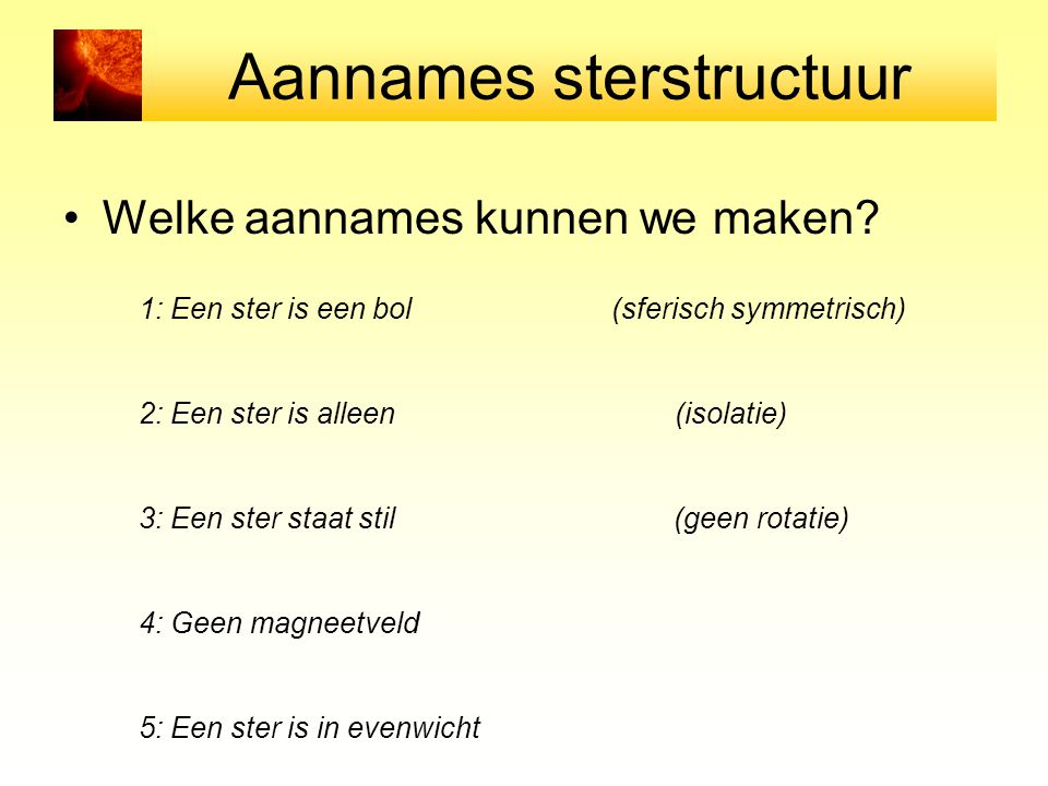 Aannames sterstructuur