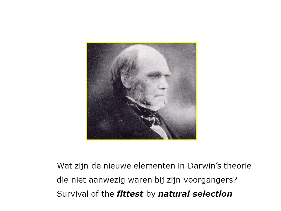 Wat zijn de nieuwe elementen in Darwin's theorie