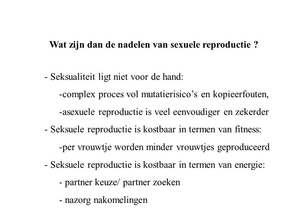 Wat zijn dan de nadelen van sexuele reproductie