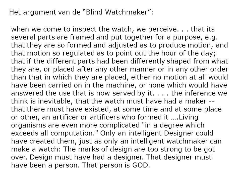 Het argument van de Blind Watchmaker :