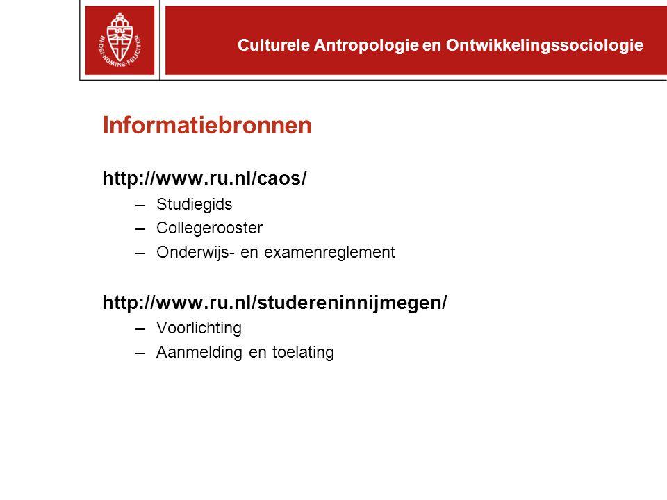Informatiebronnen http://www.ru.nl/caos/