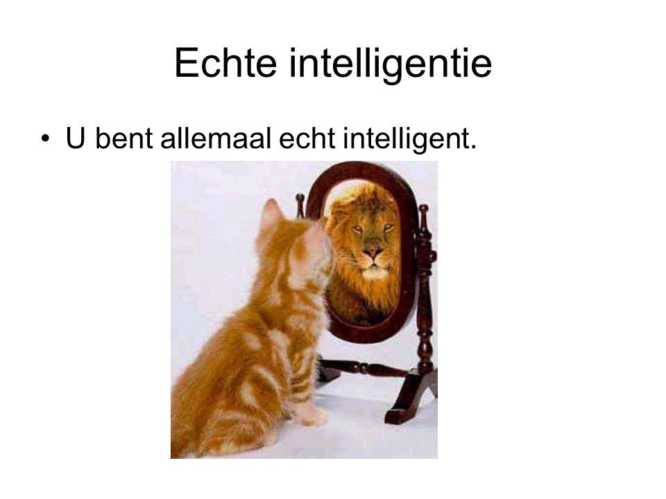 Echte intelligentie U bent allemaal echt intelligent.