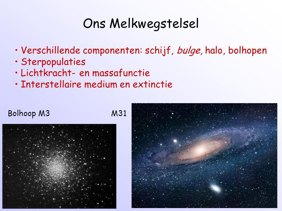 Ons Melkwegstelsel Verschillende componenten: schijf, bulge, halo, bolhopen. Sterpopulaties. Lichtkracht- en massafunctie.