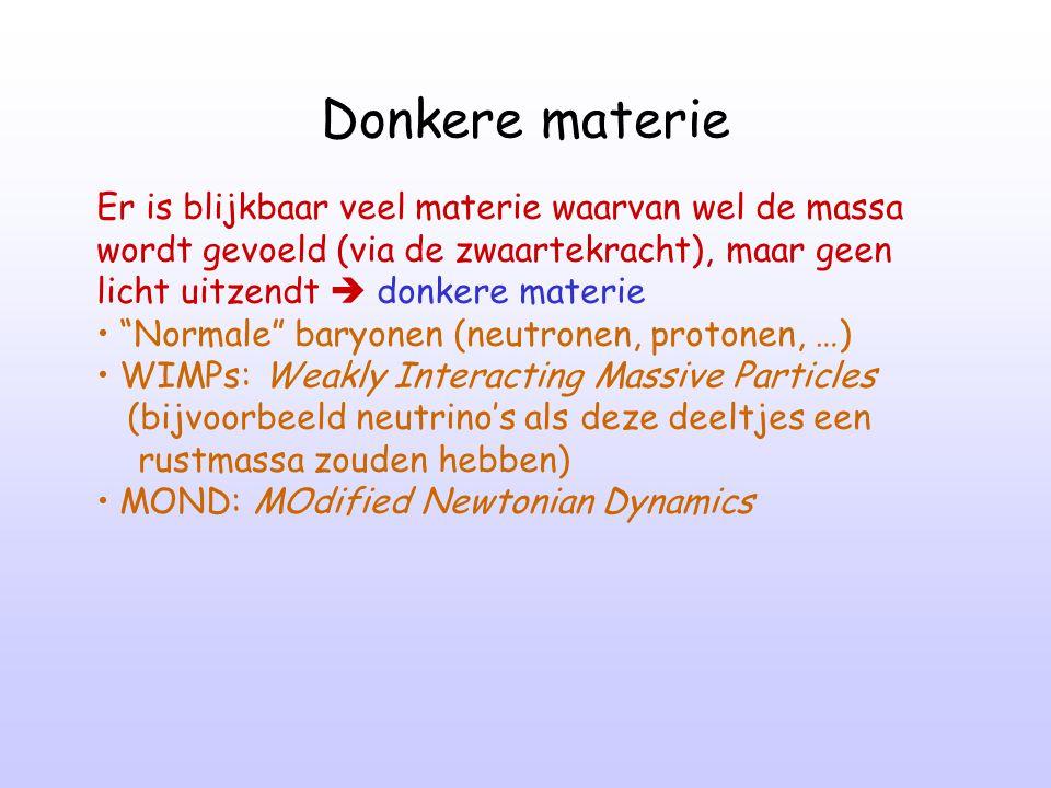 Donkere materie Er is blijkbaar veel materie waarvan wel de massa