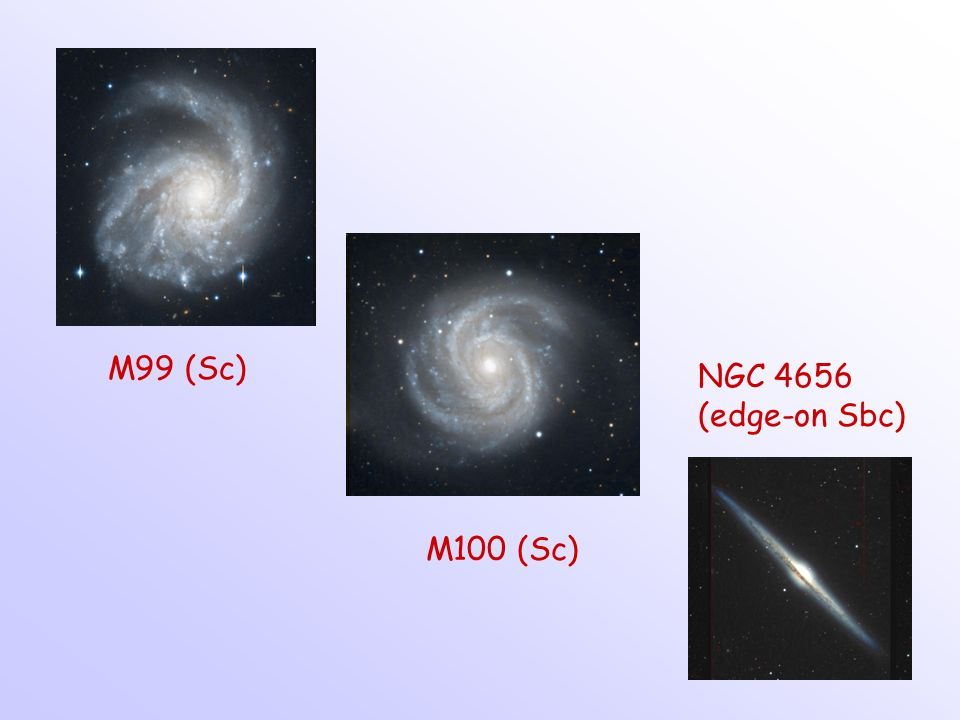 M99 (Sc) NGC 4656 (edge-on Sbc) M100 (Sc)
