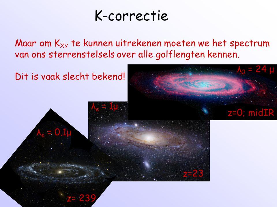 K-correctie Maar om KXY te kunnen uitrekenen moeten we het spectrum