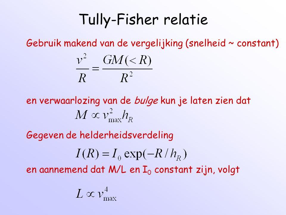Tully-Fisher relatie Gebruik makend van de vergelijking (snelheid ~ constant) en verwaarlozing van de bulge kun je laten zien dat.