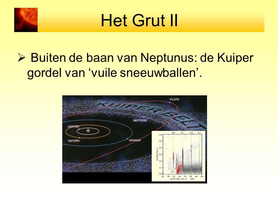 Het Grut II Buiten de baan van Neptunus: de Kuiper gordel van 'vuile sneeuwballen'.