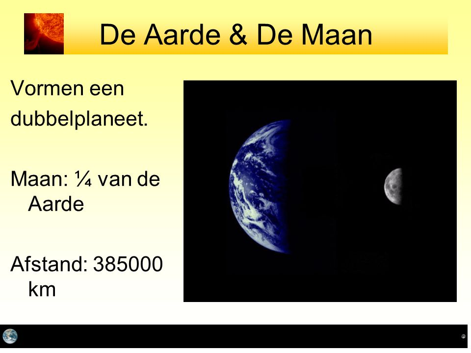 De Aarde & De Maan Vormen een dubbelplaneet. Maan: ¼ van de Aarde
