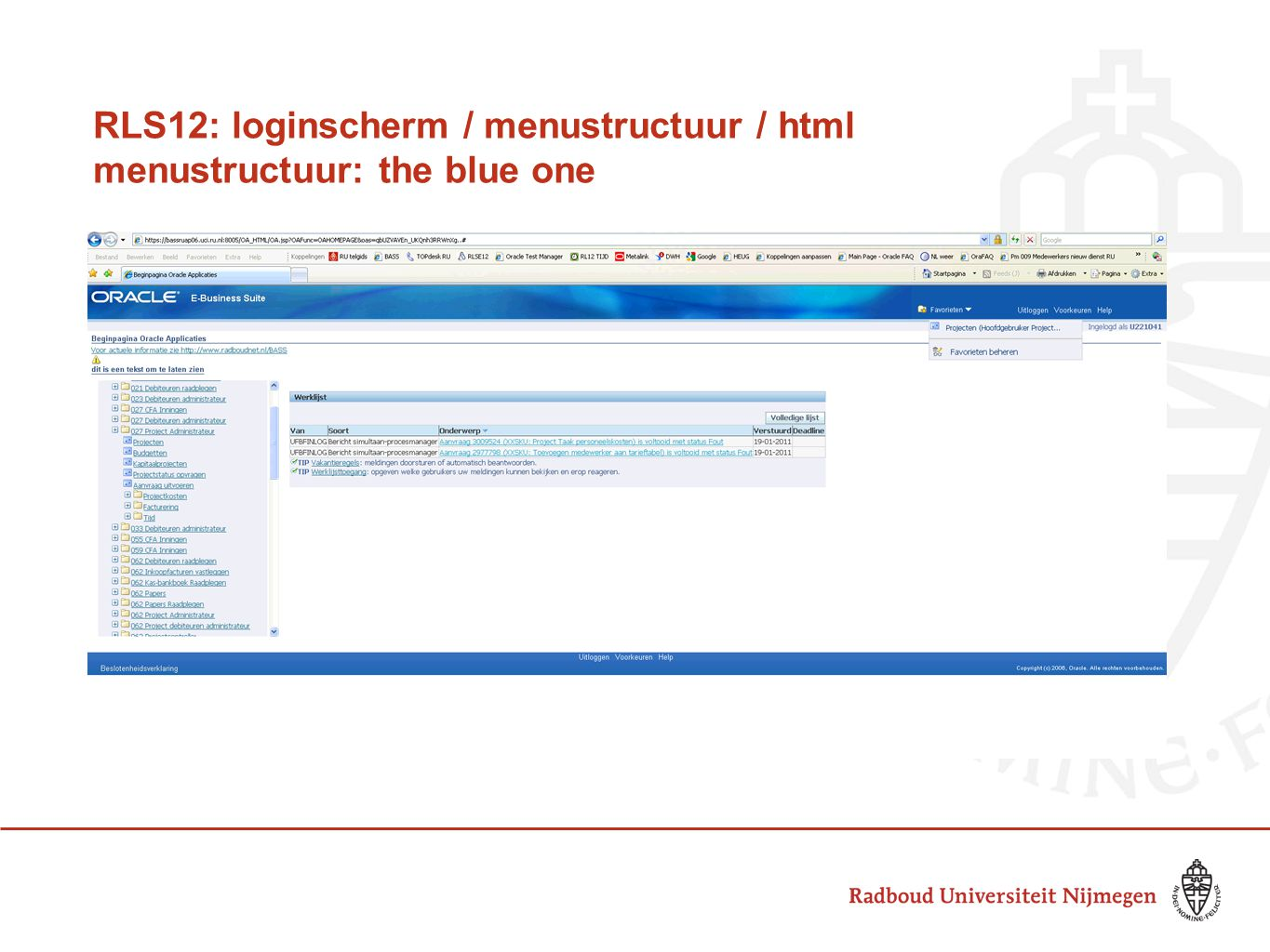 RLS12: loginscherm / menustructuur / html menustructuur: the blue one