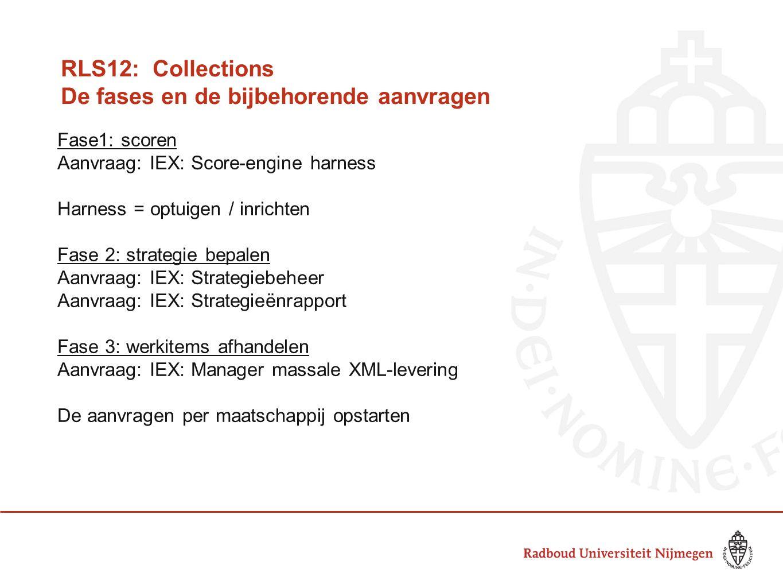 RLS12: Collections De fases en de bijbehorende aanvragen