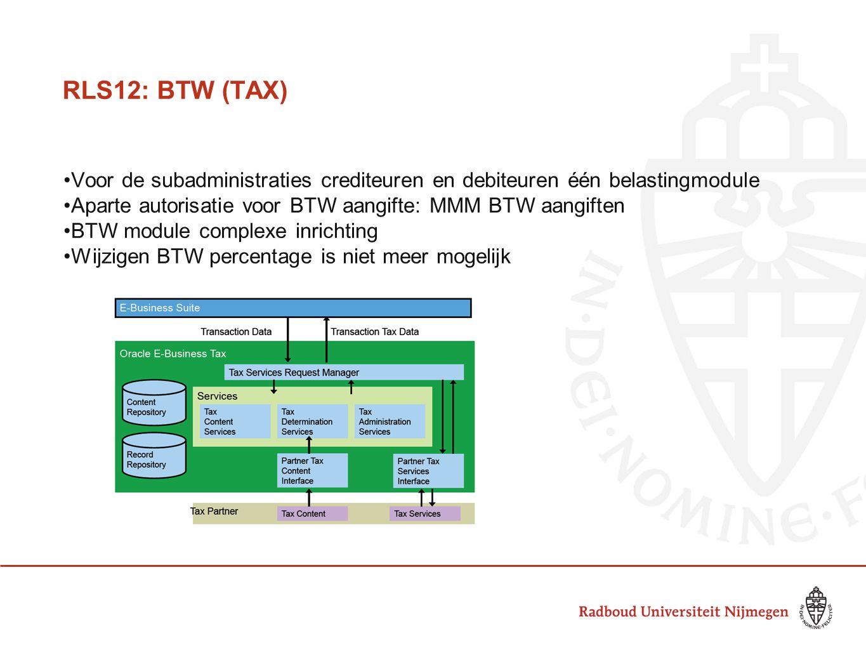 RLS12: BTW (TAX) Voor de subadministraties crediteuren en debiteuren één belastingmodule. Aparte autorisatie voor BTW aangifte: MMM BTW aangiften.