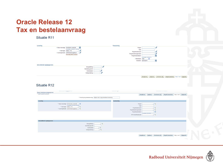 Oracle Release 12 Tax en bestelaanvraag