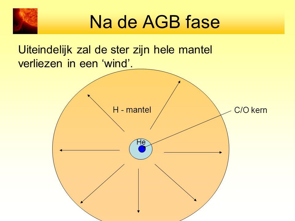 Na de AGB fase Uiteindelijk zal de ster zijn hele mantel