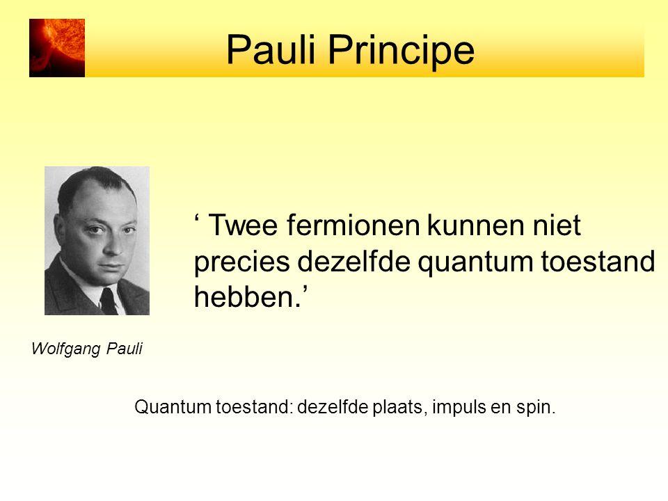 Pauli Principe ' Twee fermionen kunnen niet