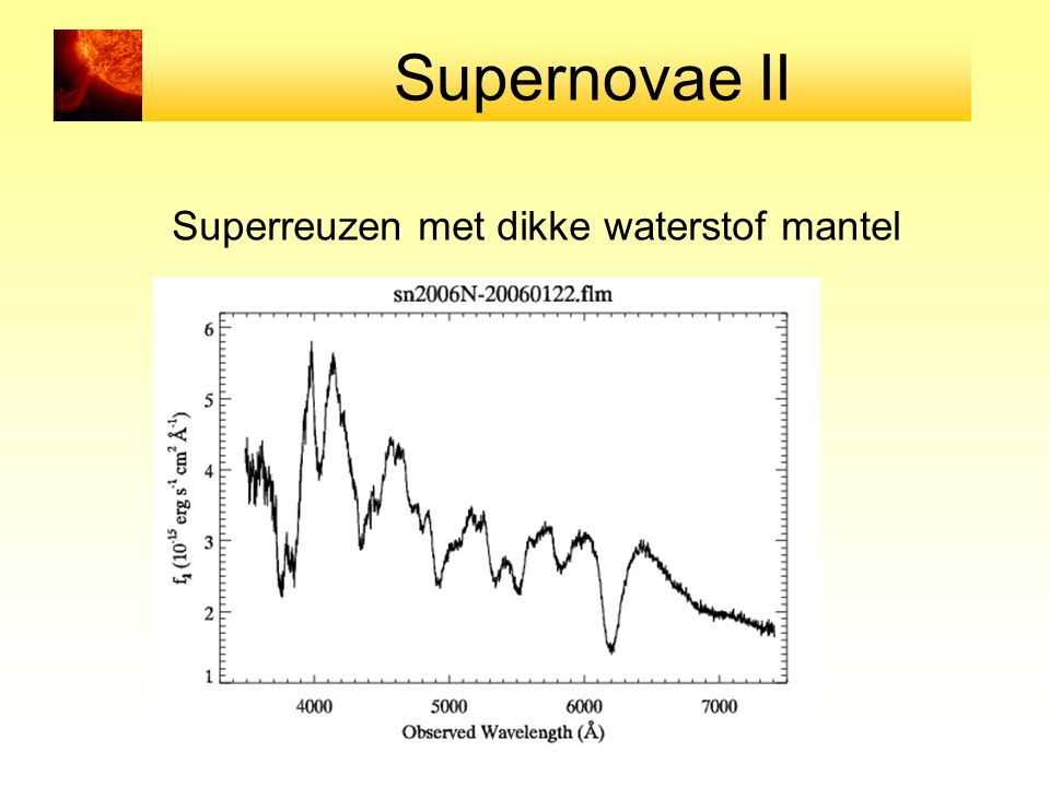 Supernovae II Superreuzen met dikke waterstof mantel