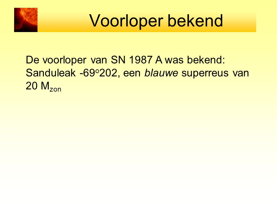 Voorloper bekend De voorloper van SN 1987 A was bekend: