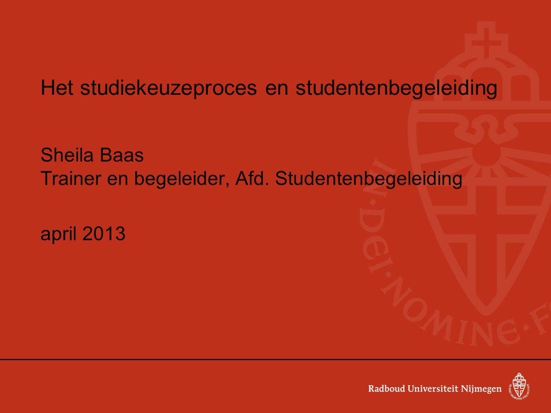 Het studiekeuzeproces en studentenbegeleiding