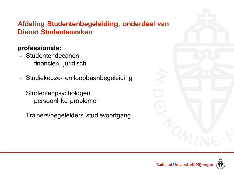 Afdeling Studentenbegeleiding, onderdeel van Dienst Studentenzaken