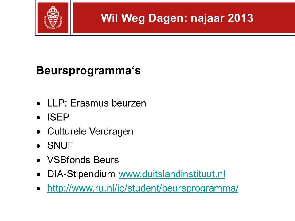 Wil Weg Dagen: najaar 2013 Beursprogramma's LLP: Erasmus beurzen ISEP