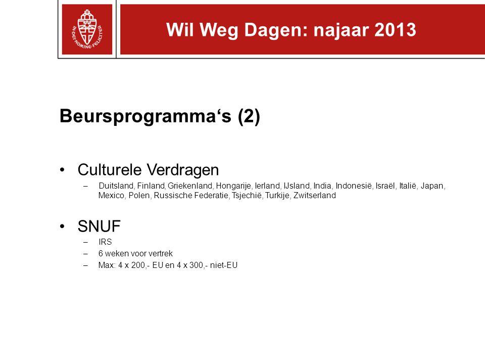 Wil Weg Dagen: najaar 2013 Beursprogramma's (2) Culturele Verdragen