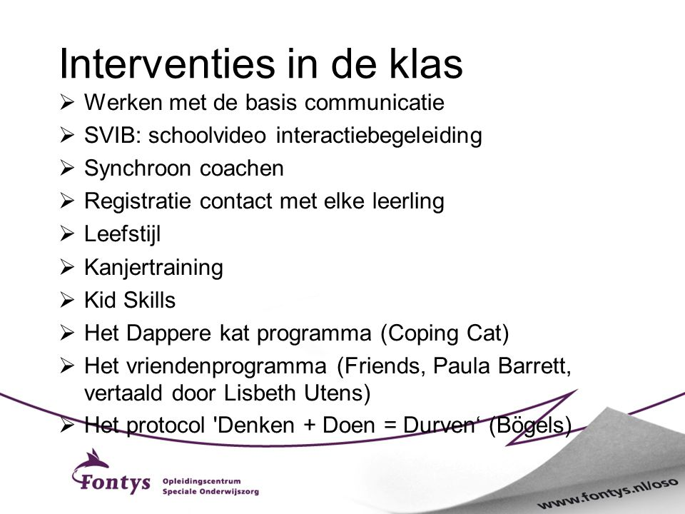 Interventies in de klas
