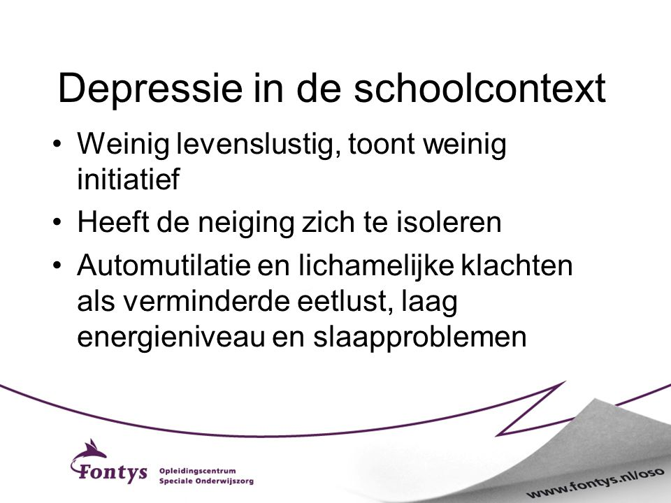 Depressie in de schoolcontext