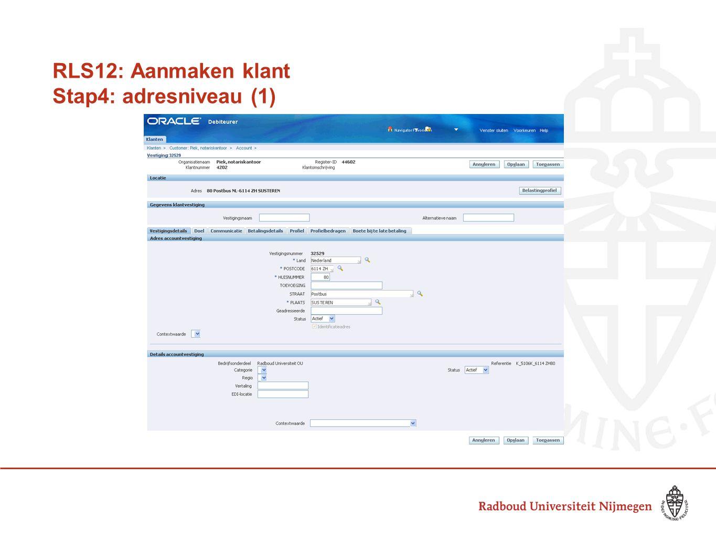 RLS12: Aanmaken klant Stap4: adresniveau (1)