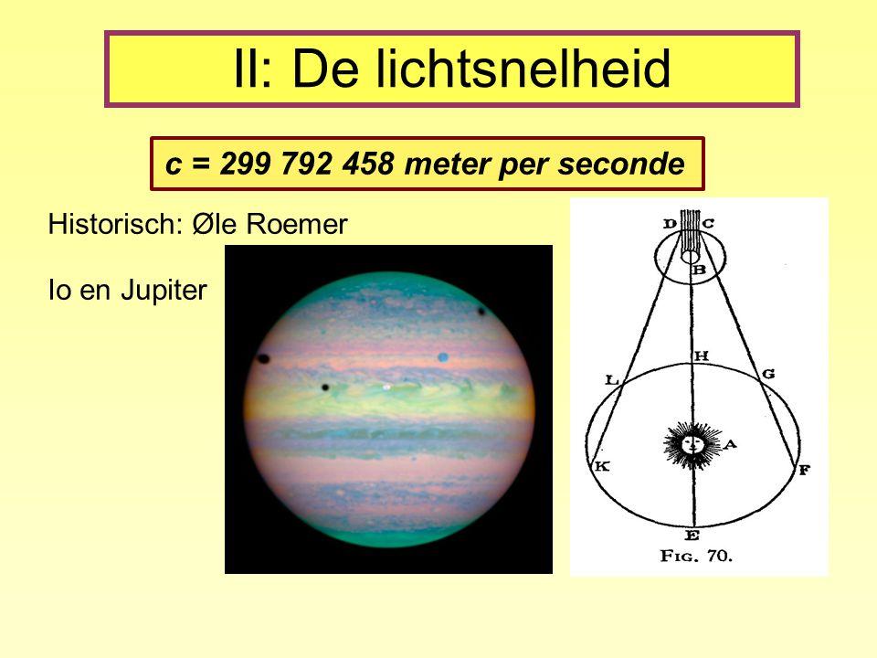 II: De lichtsnelheid c = 299 792 458 meter per seconde