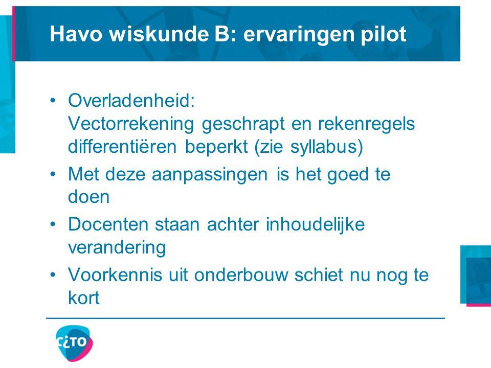 Havo wiskunde B: ervaringen pilot