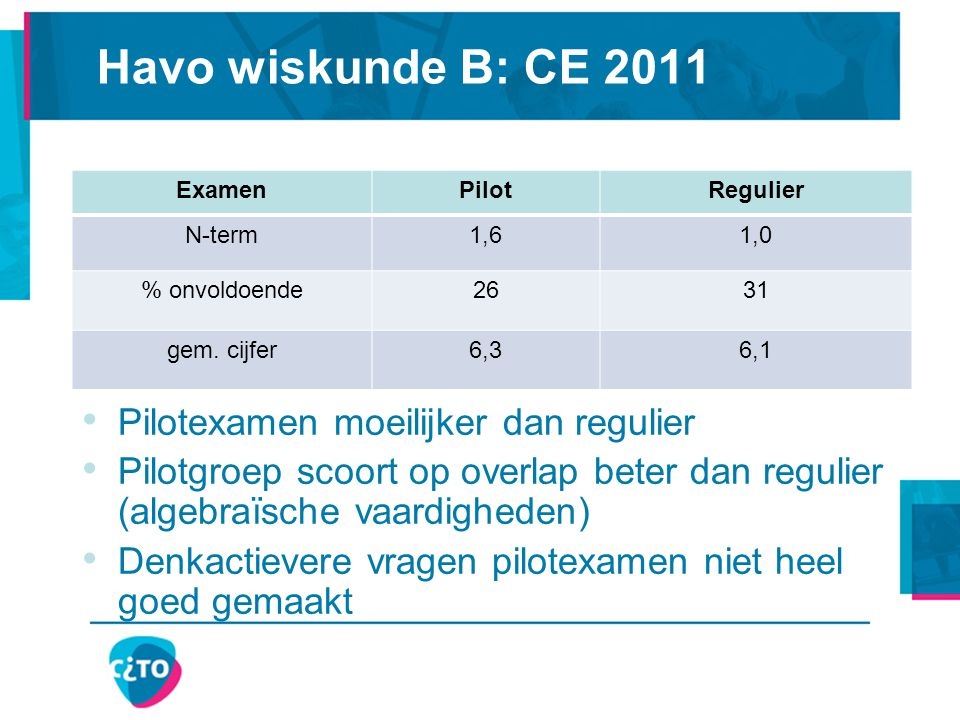 Havo wiskunde B: CE 2011 Pilotexamen moeilijker dan regulier