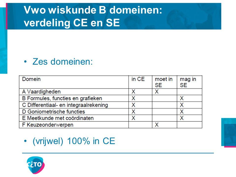 Vwo wiskunde B domeinen: verdeling CE en SE