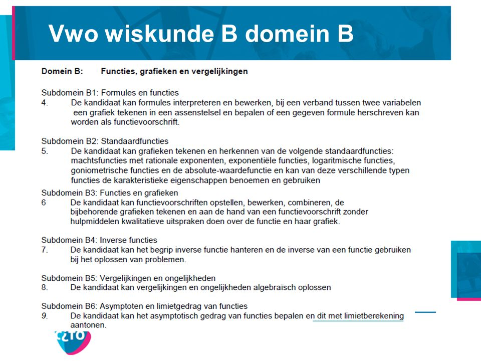 Vwo wiskunde B domein B Denk aan perforaties. Geen epsilon-delta