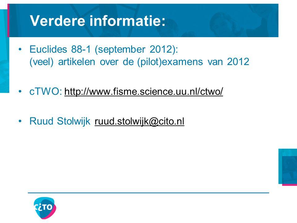 Verdere informatie: Euclides 88-1 (september 2012): (veel) artikelen over de (pilot)examens van 2012.